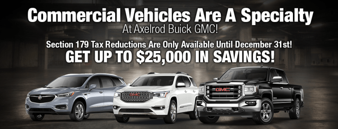 Axelrod Buick GMC is a Parma GMC  Buick dealer and a new car and     Commercial Vehicles Are A Specialty At Axelrod Buick GMC  Section 179 Tax  Reductions Are Only