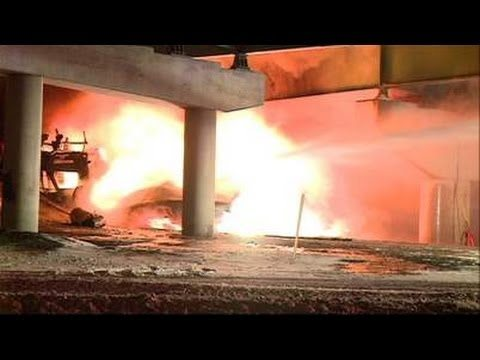 Video thumbnail for youtube video Video: Firefighters Pushing Blazing Trailer Off Overpass   CDLLife