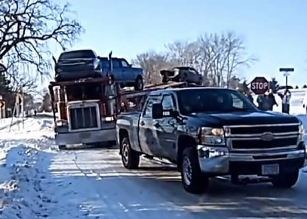 Chevy Pulls Car Hauler Out Of Ice