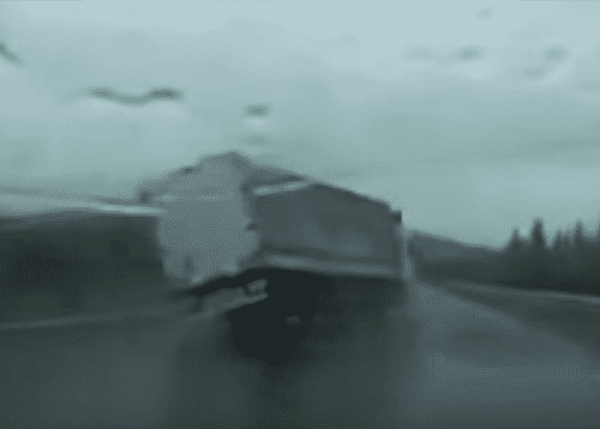 Out of Control Truck Avoids Other Truck