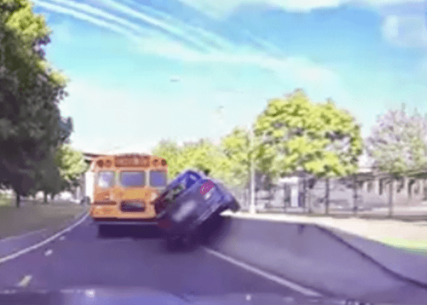 Instant Karma For Idiot Who Tries To Pass Bus On The Right