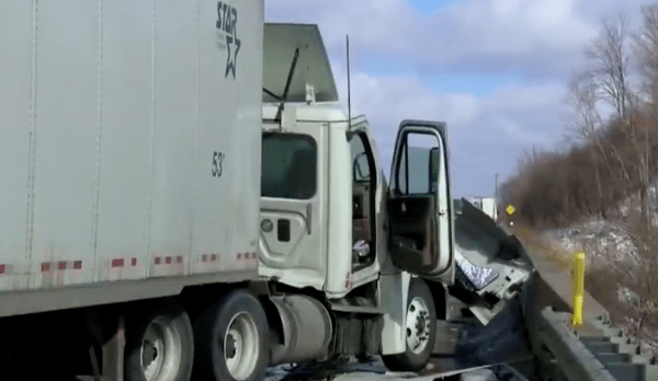Woman chasing dog on interstate causes three semi truck pileup