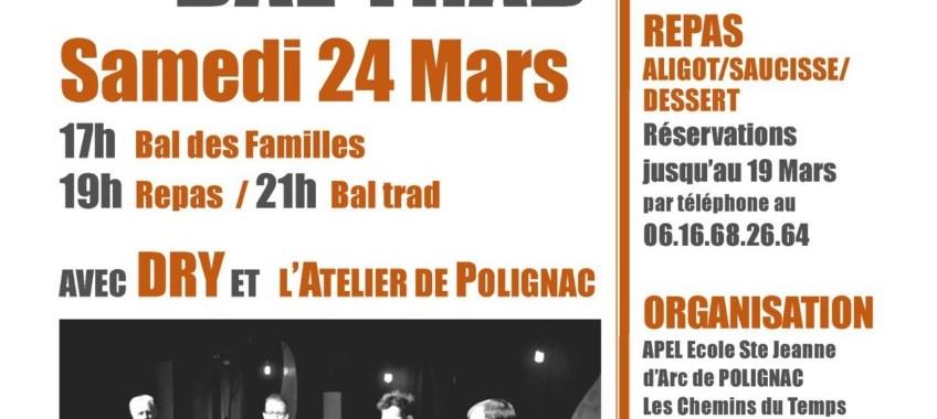 Bal des familles, repas et bal trad à Polignac le 24 Mars