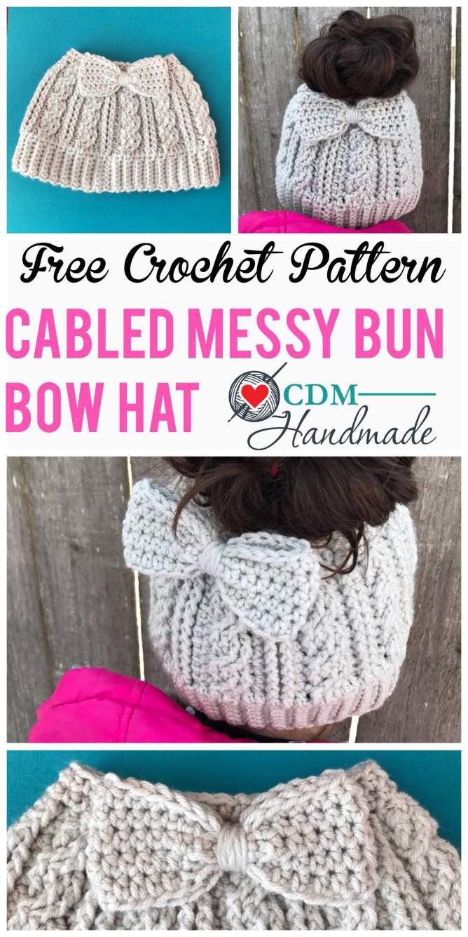 Messy Bun Hat Free Crochet Tutorial - Crochet News