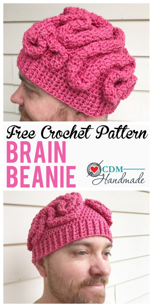 Crochet brain beanie