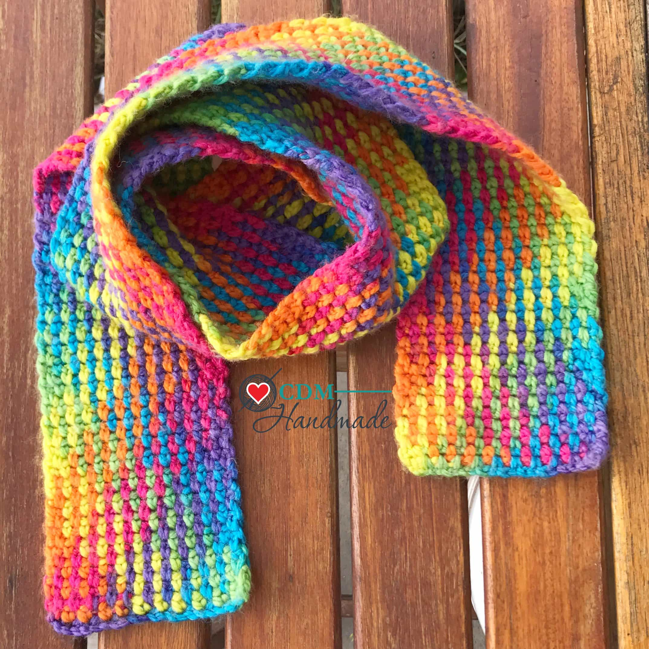 Rainbow Scarf - FREE Crochet Pattern using Planned Pooling – CDM ...