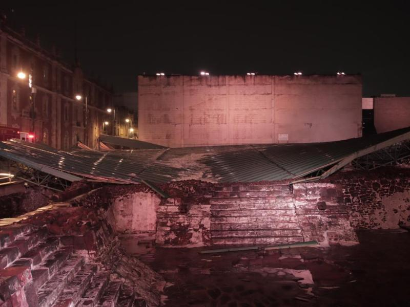 Zona arqueologica del Templo Mayor sin danos graves tras granizada