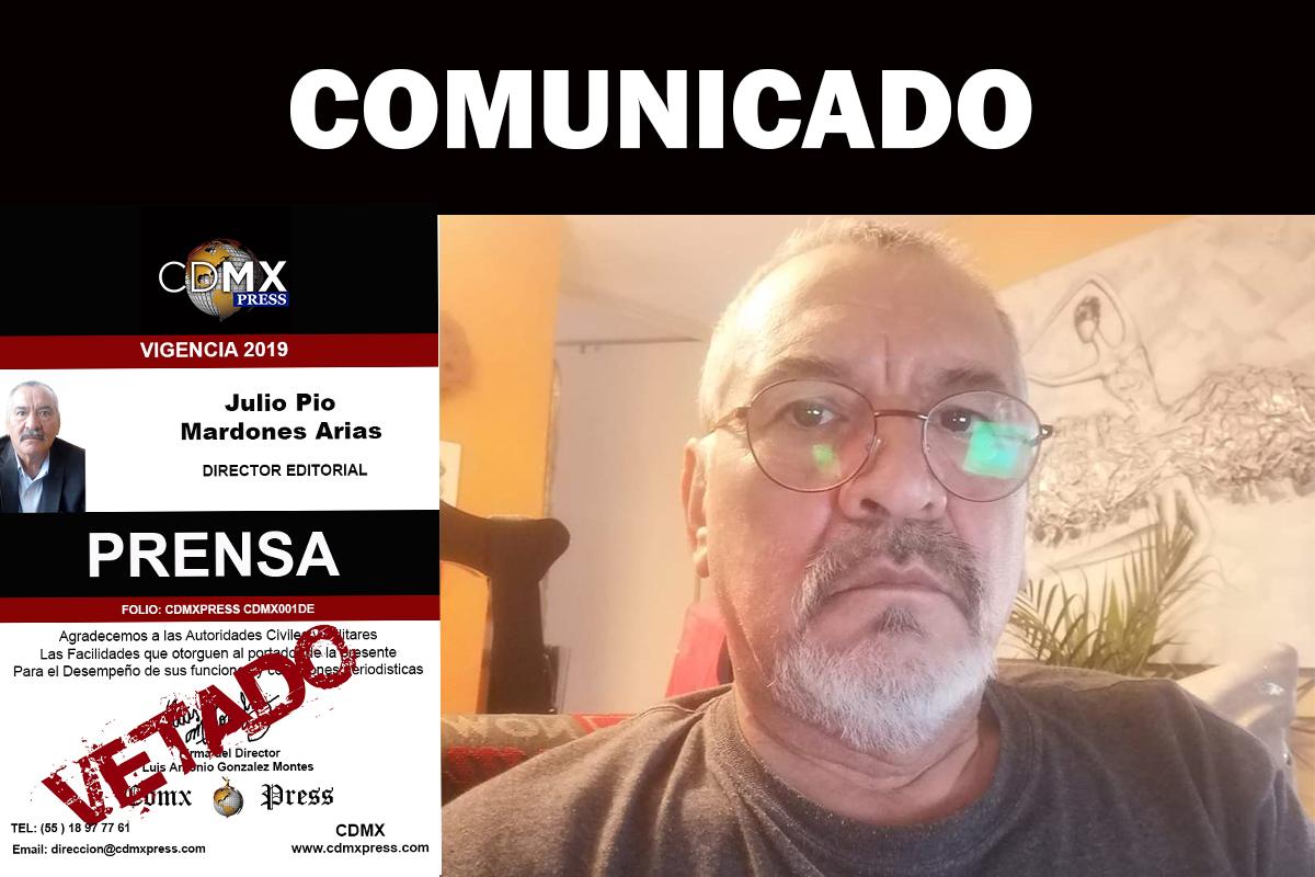 JULIO MARDONES ES VETADO DE CDMX PRESS