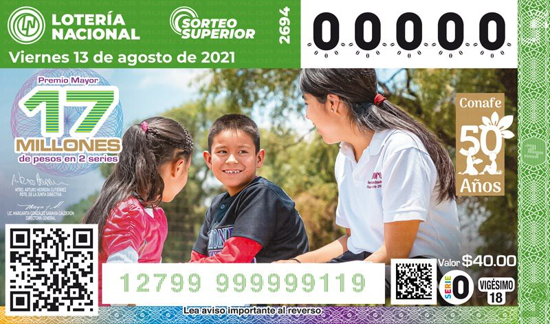 Celebra el Conafe su 50 Aniversario con billete conmemorativo de la Loteria Nacional y Sorteo Superior