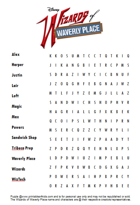 Wizards Of Waverly Place Free Printables Activities