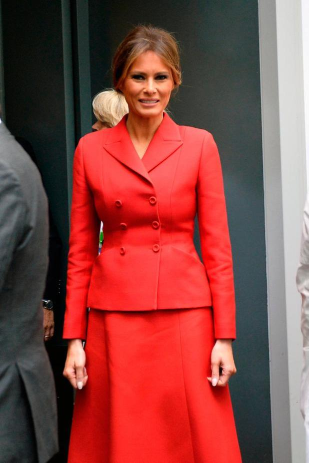 United States First Lady Melania Trump arrives to visit Necker Hospital for children on July 13, 2017 in Paris, France