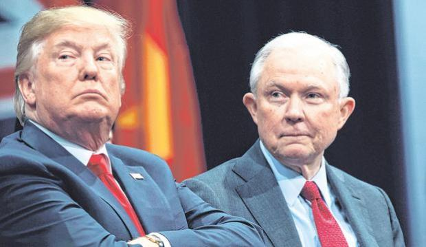 You're fired: Donald Trump (left) announced he had sacked his Attorney General Jeff Sessions (right) on Twitter. Photo: AP