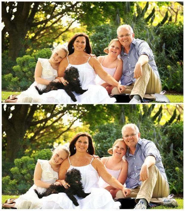 A combination of handout photographs supplied by the Australian Department of Prime Minister and Cabinet shows a doctored version of a portrait of Australian Prime Minister Scott Morrison and his family that was displayed on his website (top), and an undated original portrait that later replaced the doctored versionDepartment of Prime Minister and Cabinet/Handout via REUTERS