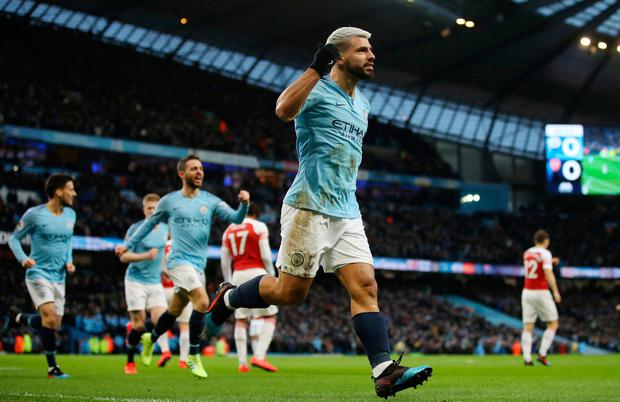 Image result for sergio aguero vs arsenal