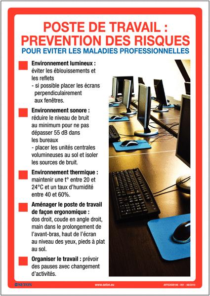 Affiche Sur La Prvention Des Risques Au Travail Seton FR
