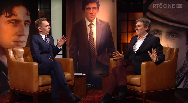 Gabriel Byrne speaking with Ryan Tubridy on The Late Late Show