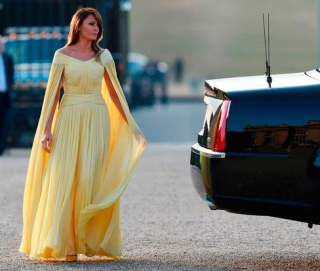 Melania Trumps Caped Yellow Gown At Blenheim Palace Has Drawn More Than A Few Comparisons To This Disney Princess