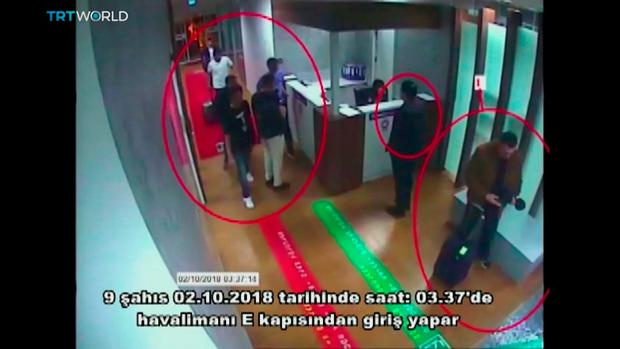 On camera: Video footage, shown by Turkey's TRT, shows the alleged hit squad's arrival. AP Photo