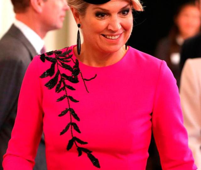Queen Maxima Of The Netherlands Reacts As She Arrives To View The Ohbot An Educational