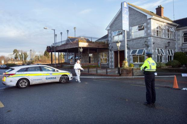 Probe: Garda forensic officers outside the Shannon Key West Hotel in Rooskey after the fire in January.Photo: Tony Gavin