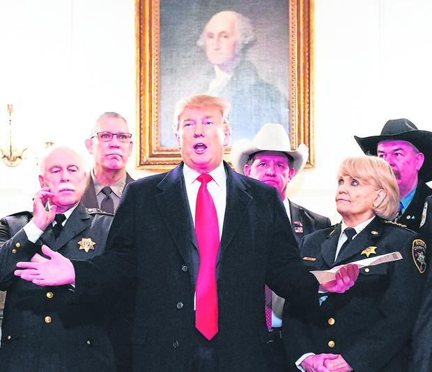 US President Donald Trump speaks to the press after meeting with sheriffs from across the country at the White House. Photo: Getty Images