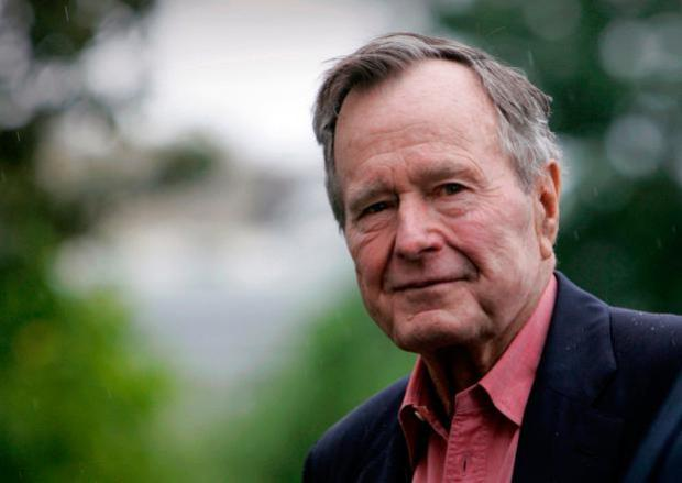 George H W Bush: A WWII hero, he also served as head of the CIA. Image: AP Photo/Lawrence Jackson, File
