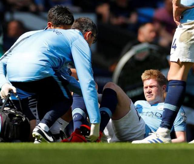 Manchester Citys Kevin De Bruyne Receives Medical Attention After Sustaining An Injury During Yesterdays Match Against
