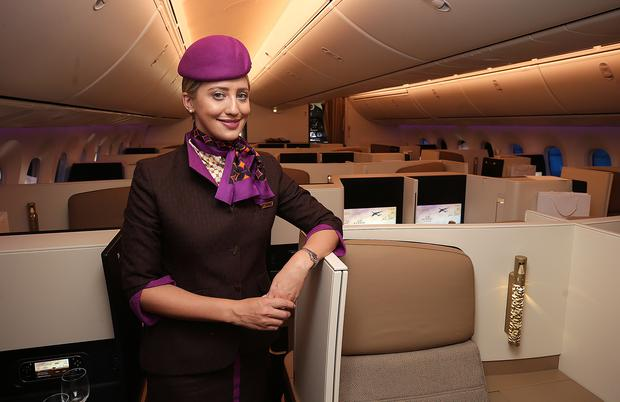 Edwina Moore, Cabin senior, from Athy, Co. Kildare on board the Ethihad Airways 787 Dreamliner at Dublin Airport. Picture credit; Damien Eagers / INM