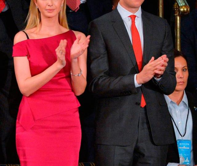 Ivanka Trump And Husband Jared Kushner Applaud As Us President Donald Trump Speaks During A Joint