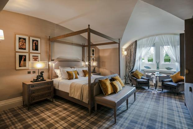 A finished bedroom at Dromoland Castle