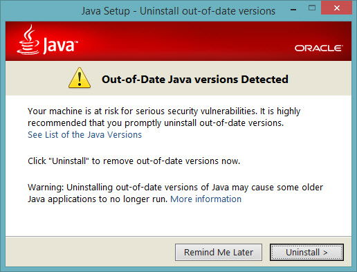 Out of date Java version
