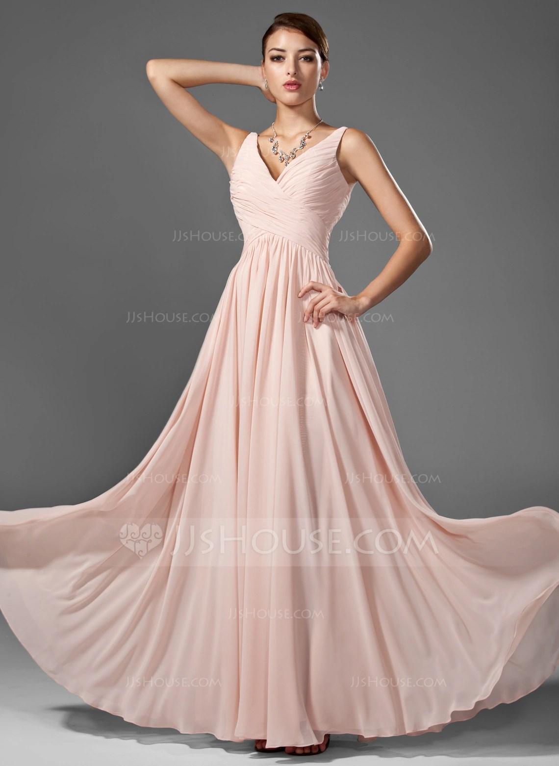 A LinePrincess V Neck Floor Length Chiffon Prom Dresses