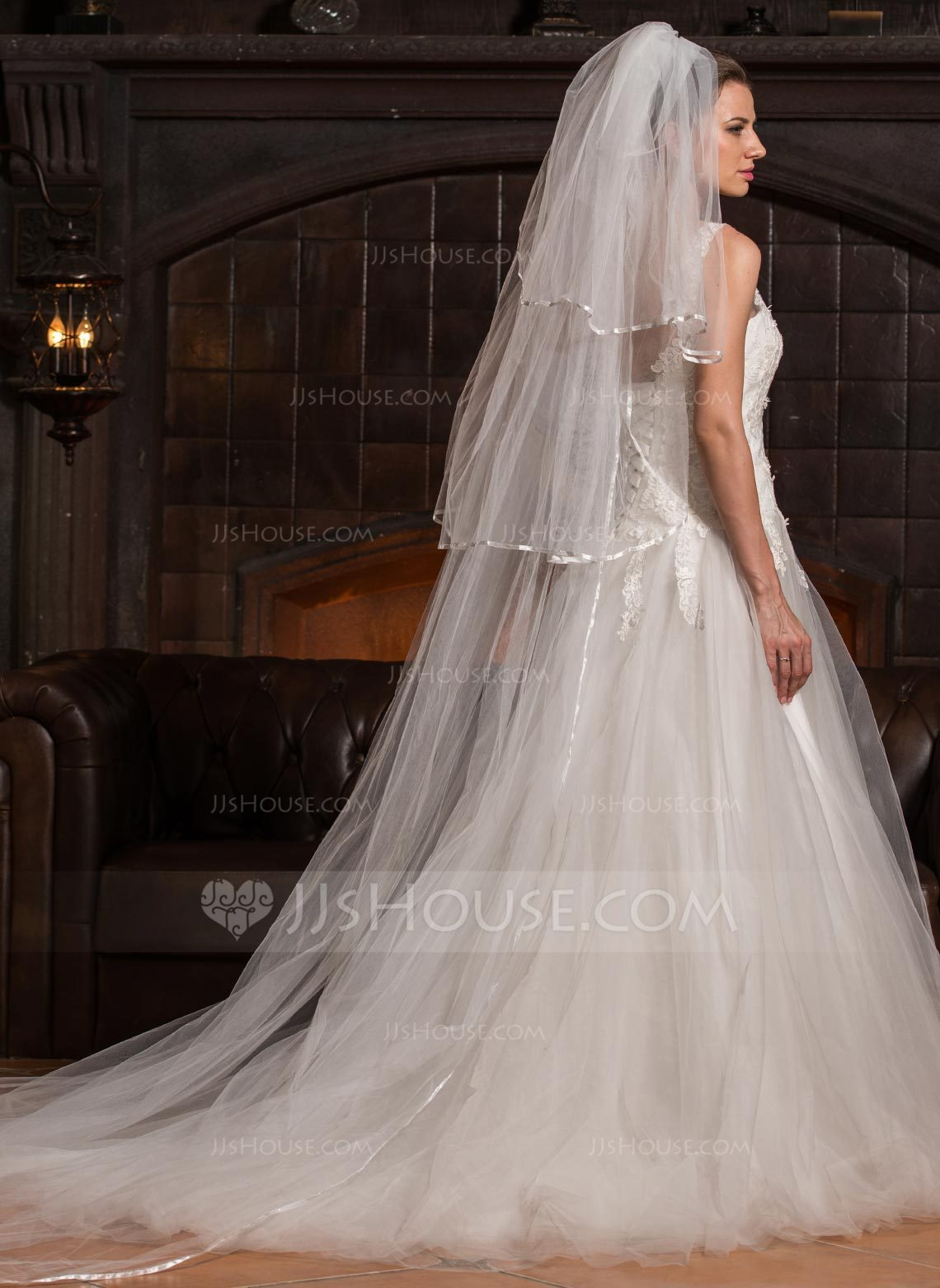 Three Tier Cathedral Bridal Veils With Ribbon Edge