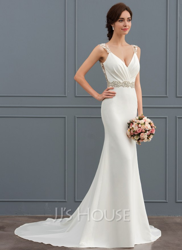 d3c1726c271f Trumpet Mermaid V Neck Court Train Stretch Crepe Wedding Dress With Lace  Beading Loading Zoom