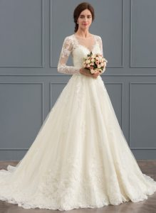Most Popular  Wedding Dresses in Color  Wedding Dresses  Affordable     Ball Gown Scoop Neck Court Train Tulle Lace Wedding Dress