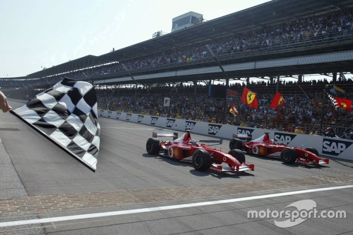 US GP 2002, 'SCHUMI' RETURNS COURTESY