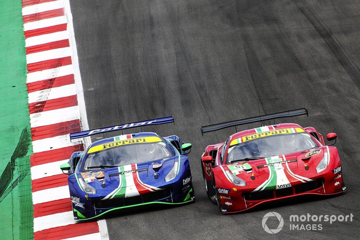 # 47 Cetilar Racing Ferrari 488 GTE EVO: Roberto Lacorte, Giorgio Sernagiotto, Antonio Fuoco and # 51 AF Corse Ferrari 488 GTE EVO: Alessandro Pier Guidi, James Calado