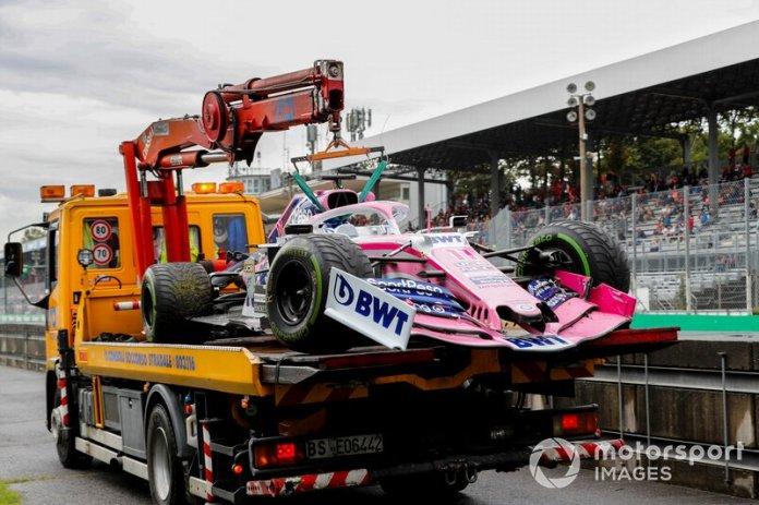 El coche de Sergio Perez, Racing Point RP19, tras su accidente