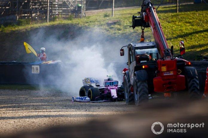 El monoplaza chocado de Lance Stroll, Racing Point RP20