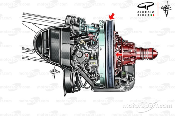 Frenos frontales del Ferrari SF90 en Austria