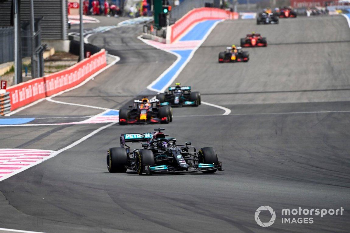 Lewis Hamilton, Mercedes W12, Max Verstappen, Red Bull Racing RB16B, and Valtteri Bottas, Mercedes W12