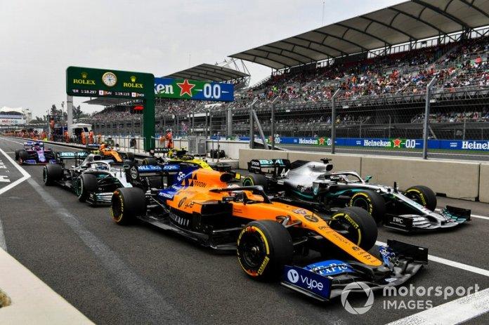 Carlos Sainz Jr., McLaren MCL34, Lewis Hamilton, Mercedes AMG F1 W10, Valtteri Bottas, Mercedes AMG W10, Nico Hulkenberg, Renault F1 Team R.S. 19, Daniil Kvyat, Toro Rosso STR14, Lando Norris, McLaren MCL34