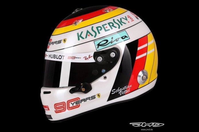 El casco de Sebastian Vettel, Ferrari para el GP de Alemania