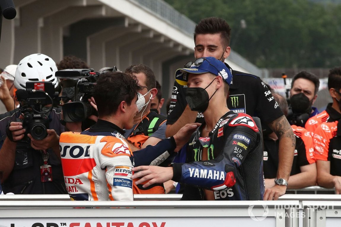Race winner Marc Marquez, Repsol Honda Team, second place Fabio Quartararo, Yamaha Factory Racing