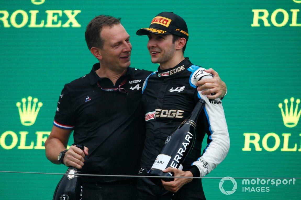 Laurent Rossi, CEO, Alpine F1, and Esteban Ocon, Alpine F1, first place, celebrate on the podium