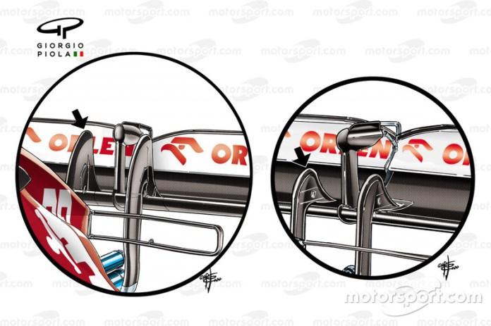 Alfa Romeo Racing C3, comparación a detalle del pilar trasero