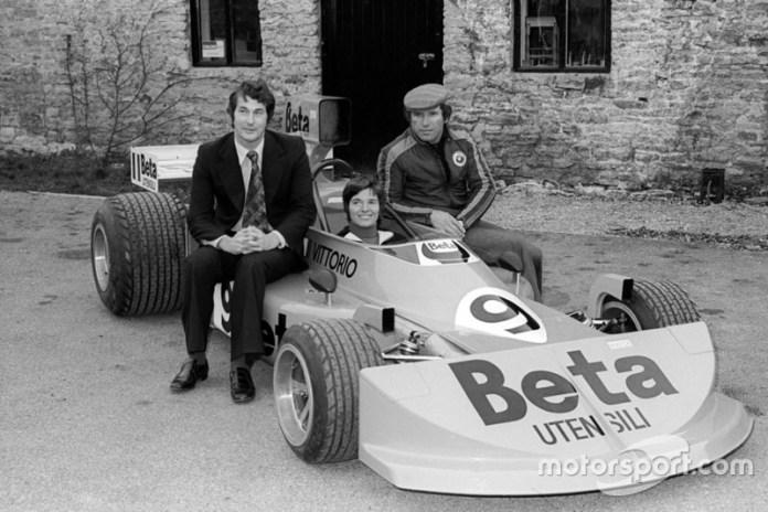 Lella Lombardi, Vittorio Brambilla, Robin Herd, March Designer con el March 761, GP de la Gran Bretaña 1976