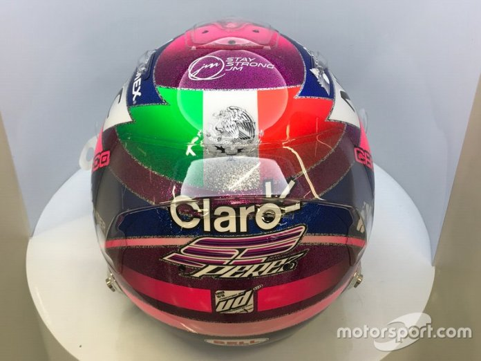El casco de Sergio Pérez, Racing Point, para el GP de Singapur