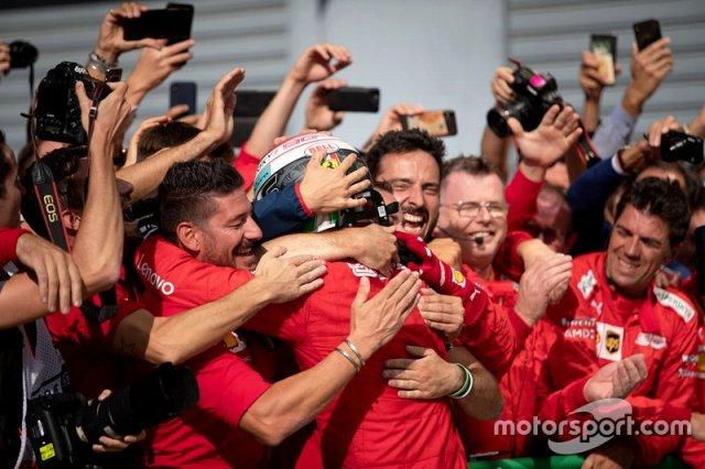 Race winner Charles Leclerc, Ferrari celebrates with his team in parc ferme