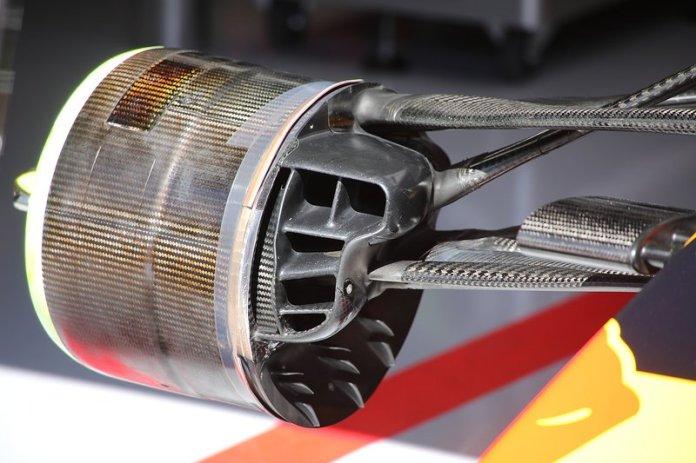 Detalle del tambor del freno delantero Red Bull Racing RB15